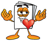 Clip Art Graphic of a White Copy and Print Paper Cartoon Character With His Heart Beating Out of His Chest