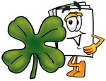Clip Art Graphic of a White Copy and Print Paper Cartoon Character With a Green Four Leaf Clover on St Paddy's or St Patricks Day