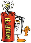 Clip Art Graphic of a White Copy and Print Paper Cartoon Character Standing With a Lit Stick of Dynamite
