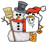 Clip Art Graphic of a White Copy and Print Paper Cartoon Character With a Snowman on Christmas
