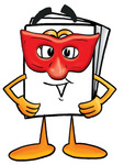 Clip Art Graphic of a White Copy and Print Paper Cartoon Character Wearing a Red Mask Over His Face