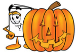 Clip Art Graphic of a White Copy and Print Paper Cartoon Character With a Carved Halloween Pumpkin