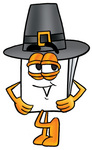 Clip Art Graphic of a White Copy and Print Paper Cartoon Character Wearing a Pilgrim Hat on Thanksgiving