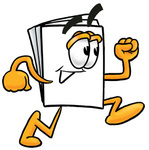 Clip Art Graphic of a White Copy and Print Paper Cartoon Character Running