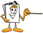 Clip Art Graphic of a White Copy and Print Paper Cartoon Character Holding a Pointer Stick