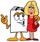 Clip Art Graphic of a White Copy and Print Paper Cartoon Character Talking to a Pretty Blond Woman