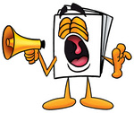 Clip Art Graphic of a White Copy and Print Paper Cartoon Character Screaming Into a Megaphone