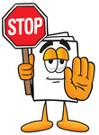 Clip Art Graphic of a White Copy and Print Paper Cartoon Character Holding a Stop Sign