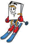 Clip Art Graphic of a White Copy and Print Paper Cartoon Character Skiing Downhill