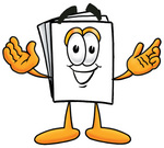 Clip Art Graphic of a White Copy and Print Paper Cartoon Character With Welcoming Open Arms