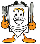 Clip Art Graphic of a White Copy and Print Paper Cartoon Character Holding a Knife and Fork
