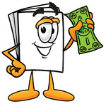 Clip Art Graphic of a White Copy and Print Paper Cartoon Character Holding a Dollar Bill