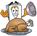 Clip Art Graphic of a White Copy and Print Paper Cartoon Character Serving a Thanksgiving Turkey on a Platter
