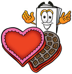 Clip Art Graphic of a White Copy and Print Paper Cartoon Character With an Open Box of Valentines Day Chocolate Candies