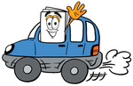 Clip Art Graphic of a White Copy and Print Paper Cartoon Character Driving a Blue Car and Waving