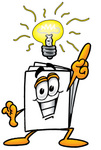 Clip Art Graphic of a White Copy and Print Paper Cartoon Character With a Bright Idea