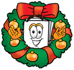 Clip Art Graphic of a White Copy and Print Paper Cartoon Character in the Center of a Christmas Wreath