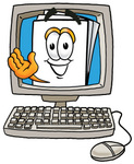 Clip Art Graphic of a White Copy and Print Paper Cartoon Character Waving From Inside a Computer Screen