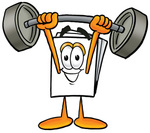 Clip Art Graphic of a White Copy and Print Paper Cartoon Character Holding a Heavy Barbell Above His Head