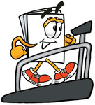 Clip Art Graphic of a White Copy and Print Paper Cartoon Character Walking on a Treadmill in a Fitness Gym