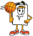 Clip Art Graphic of a White Copy and Print Paper Cartoon Character Spinning a Basketball on His Finger