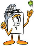 Clip Art Graphic of a White Copy and Print Paper Cartoon Character Preparing to Hit a Tennis Ball