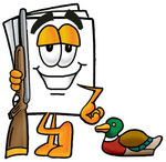 Clip Art Graphic of a White Copy and Print Paper Cartoon Character Duck Hunting, Standing With a Rifle and Duck