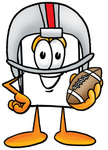 Clip Art Graphic of a White Copy and Print Paper Cartoon Character in a Helmet, Holding a Football