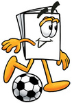 Clip Art Graphic of a White Copy and Print Paper Cartoon Character Kicking a Soccer Ball