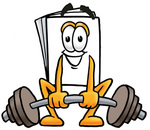 Clip Art Graphic of a White Copy and Print Paper Cartoon Character Lifting a Heavy Barbell