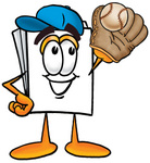 Clip Art Graphic of a White Copy and Print Paper Cartoon Character Catching a Baseball With a Glove
