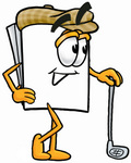 Clip Art Graphic of a White Copy and Print Paper Cartoon Character Leaning on a Golf Club While Golfing