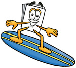 Clip Art Graphic of a White Copy and Print Paper Cartoon Character Surfing on a Blue and Yellow Surfboard