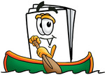 Clip Art Graphic of a White Copy and Print Paper Cartoon Character Rowing a Boat