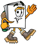 Clip Art Graphic of a White Copy and Print Paper Cartoon Character Hiking and Carrying a Backpack
