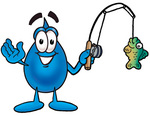 Clip Art Graphic of a Blue Waterdrop or Tear Character Holding a Fish on a Fishing Pole