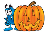 Clip Art Graphic of a Blue Waterdrop or Tear Character With a Carved Halloween Pumpkin