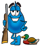 Clip Art Graphic of a Blue Waterdrop or Tear Character Duck Hunting, Standing With a Rifle and Duck