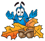 Clip Art Graphic of a Blue Waterdrop or Tear Character With Autumn Leaves and Acorns in the Fall