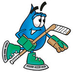 Clip Art Graphic of a Blue Waterdrop or Tear Character Playing Ice Hockey