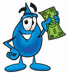 Clip Art Graphic of a Blue Waterdrop or Tear Character Holding a Dollar Bill