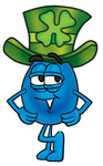 Clip Art Graphic of a Blue Waterdrop or Tear Character Wearing a Saint Patricks Day Hat With a Clover on it