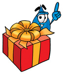 Clip Art Graphic of a Blue Waterdrop or Tear Character Standing by a Christmas Present