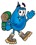 Clip Art Graphic of a Blue Waterdrop or Tear Character Hiking and Carrying a Backpack