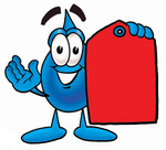 Clip Art Graphic of a Blue Waterdrop or Tear Character Holding a Red Sales Price Tag