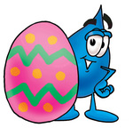 Clip Art Graphic of a Blue Waterdrop or Tear Character Standing Beside an Easter Egg