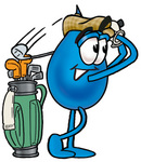 Clip Art Graphic of a Blue Waterdrop or Tear Character Swinging His Golf Club While Golfing