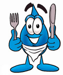 Clip Art Graphic of a Blue Waterdrop or Tear Character Holding a Knife and Fork