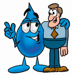 Clip Art Graphic of a Blue Waterdrop or Tear Character Talking to a Business Man