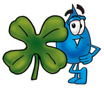 Clip Art Graphic of a Blue Waterdrop or Tear Character With a Green Four Leaf Clover on St Paddy's or St Patricks Day